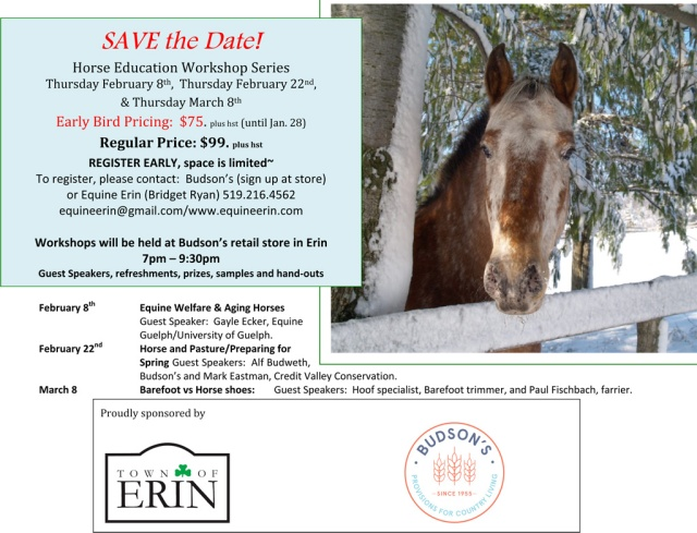 SAVE the Date! Horse Education Workshop Series Feb 8, Feb 22 & Mar 9, 2018